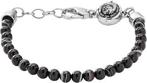 Diesel Men Steel/Agate Bracelet Color: Black Agate ... - Amazon.com