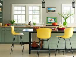 kitchen colors images:  original dd allen yellow barstools kitchen soft green cabinetsjpgrendhgtvcom