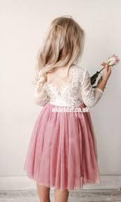 Long Sleeve Lace Flower <b>Girl</b> Dresses, Dusty <b>Pink Tulle</b> Popular ...