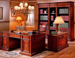 brilliant classic office design adopting teak home office furniture which is completed with bright chandelier across tall bookshelves and two big desk lampsjpg bright idea home office ideas