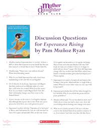 discussion questions for esperanza rising by pam mu ntilde oz ryan discussion questions for esperanza rising by pam muntildeoz ryan this is one of my favorite chapter books for young readers