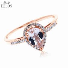 <b>HELON</b> 5x7mm Pear Morganite <b>Pave Natural</b> Diamonds Ring Solid ...
