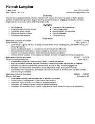 best wellness activities assistant resume example livecareer choose