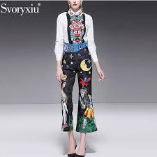 ซื้อที่ไหน <b>Svoryxiu Runway</b> Fashion Pants Two Piece Set ...