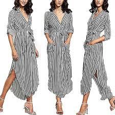 better-caress <b>Summer</b> Striped Shirt Dress <b>Women</b> Casual Long ...