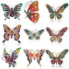 Wholesale <b>Rhinestone Crystal</b> Butterfly <b>Pearl Brooch Pin</b> Women ...