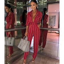 Fashion <b>striped printed jumpsuits</b> for <b>women</b> 2018 Half sleeve turn ...