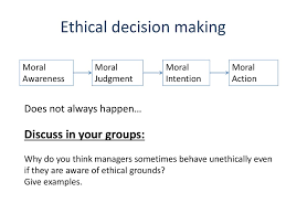 business ethics  ethical decision making moral awareness moral judgment moral intention moral action does not always happen discuss in your groups