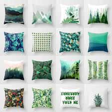 Elife <b>Retro Green Leaves Cactus</b> Linen Cotton Cushion Case ...