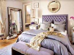 violet hollywood regency bedroom with big mirroa on the wall beige bedroom furniture