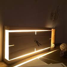 <b>Nordic Rectangle</b> Vintage <b>Wood</b> Mute Wall Clock with Lamp в 2019 ...