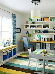create contrast by adding a pop of color to a white dcor study playroomplayroom officeoffice spacesplayroom amazing playroom office shared space