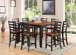 furniture tall black maple wood dining table with ladder backrest chairs using brown top and seat amusing wood kitchen tables top kitchen decor