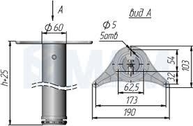 🤑 Be. <b>Опора для стола</b>, <b>D60</b>, H710+25 мм, хром, 4шт. (X4RG 710 ...