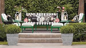 frontgate outdoor furniture with black and white stripped seat with cushions and flowers black and white patio furniture