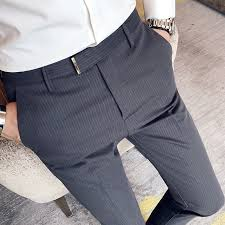 ICPANS Thin Striped Ankle Length Suit Pants <b>Male Summer</b> ...