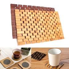 12x18'' <b>Bamboo</b> Wooden Folding Placemat <b>Insulation Pad</b> Kitchen ...