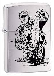 <b>Зажигалка</b> ZIPPO Рыбак, с покрытием Brushed Chrome, латунь ...