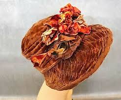 1920s Brown Velvet <b>Ruched</b> Cloche w/ <b>Large</b> Brim Turned Up on ...