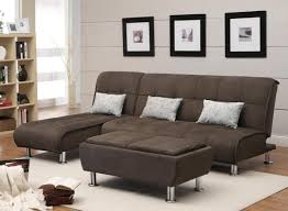 living room with bed:  originalviews  modern style living room coaster futon sofa bed plush padded cushions silver cylinder legs wooden floor tiles