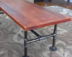 solid cherry coffee table with industrial iron pipe legs rustic reclaimed wood 48 black iron pipe table