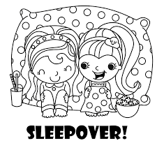 Small Picture The perfect coloring page for a sleepover party coloring in