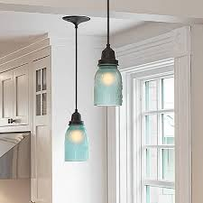 kitchen pendant lights made from frosted blue glass mason jars whats not to austin mason jar pendant lamp