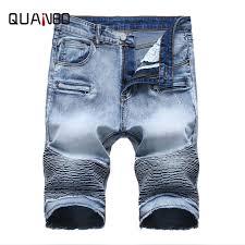 <b>QUANBO 2019 Summer New</b> Biker Moto Mens Denim Shorts ...