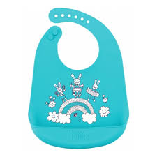 <b>Нагрудник Happy Baby</b> силиконовый мягкий BIB POCKET, голубой