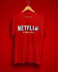 Netflix & <b>Chill</b>-umm <b>Red</b> Graphic Half Sleeve <b>T Shirt</b> – Halftone.Club ...