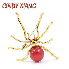2019 <b>CINDY XIANG</b> Red <b>Bead</b> Spider Brooches For Women And ...