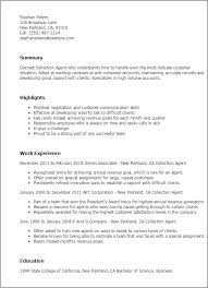 resume templates collection agent collections agent