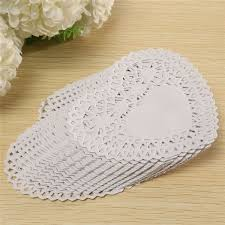 <b>Fashion 100pcs</b>/set 4 Inches <b>Lace</b> Paper White Heart shaped <b>Lace</b> ...
