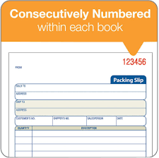 packing slip book part carbonless st bk