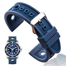 Silicone Watchbands 22mm Black Blue Women Men <b>Waterproof</b> ...