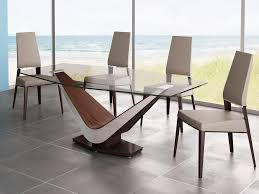 style black glass dining table  modern glass dining table design come with wooden base in brown white