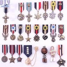 10pcs star Round Military <b>Metal Badge</b> Retro Fabri <b>Shoulder Board</b> ...