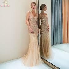 Shiny Evening Dresses Mermaid Deep V neck <b>Champagne</b> Long ...