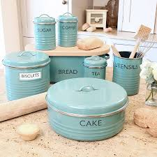 Green Kitchen Canister Set Blue Tit Wild Bird Kitchen Baking Collection Vintage Kitchen