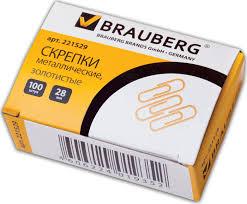 <b>Скрепки Brauberg</b>, <b>28 мм</b>, золотистые, 100 штук, в картонной ...