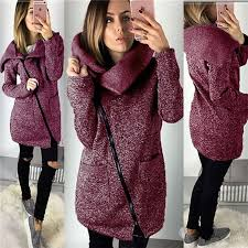 2019 Women Autumn <b>Winter</b> Warm <b>Fleece</b> Sweatshirt Hoodie <b>Turn</b> ...