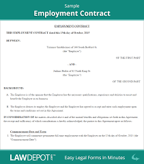employment contract employee agreement form us lawdepot employment contract sample