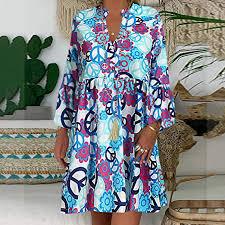 Summer Dresses for Women Split Neck Retro Aztec ... - Amazon.com