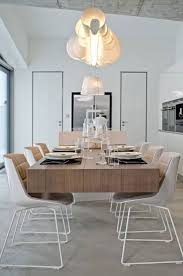 Dining Room Light Fixture Modern Light Fixtures In Dining Room With Long Oak Table And White
