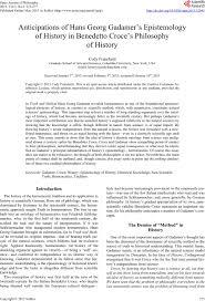anticipations of hans georg gadamer s epistemology of history in anticipations of hans georg gadamer s epistemology of history in benedetto croce s philosophy of history