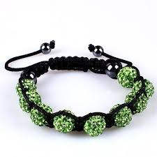 10mm Green Crystals Macrame 9pcs Beaded Shamballa Ball ...