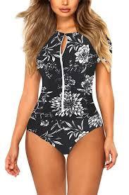Women's Floral Zip Up Swimsuit Rash Guard Surf Suit   #Trendy ...
