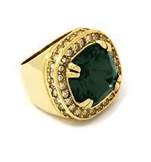 Mens 14K <b>Gold Plated Hip Hop</b> Iced Emerald Ruby Cz Ring Size ...