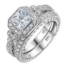 Newshe Women Wedding Engagement Ring Set 925 ... - Amazon.com