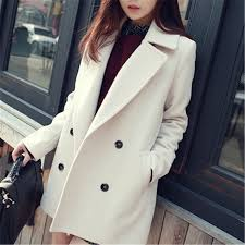 Women Autumn <b>Winter Thick Woolen Coat</b> Long Sleeve Wool ...